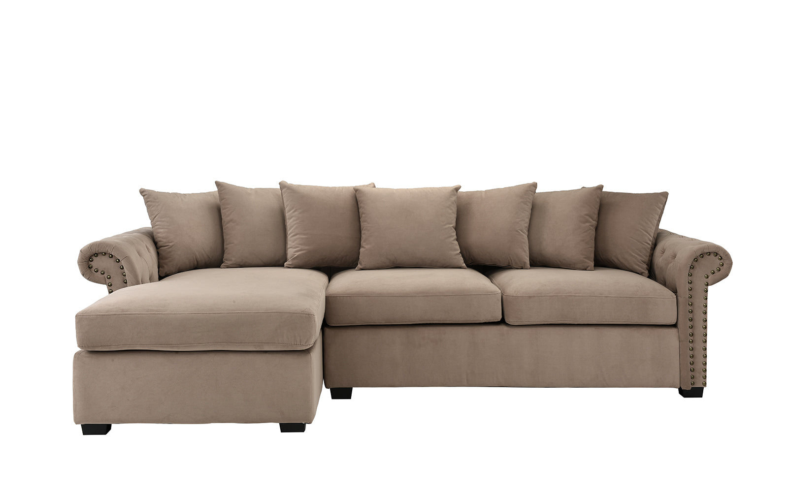 Melina Classic Victorian-Inspired Velvet Sectional Sofa with Left ...
