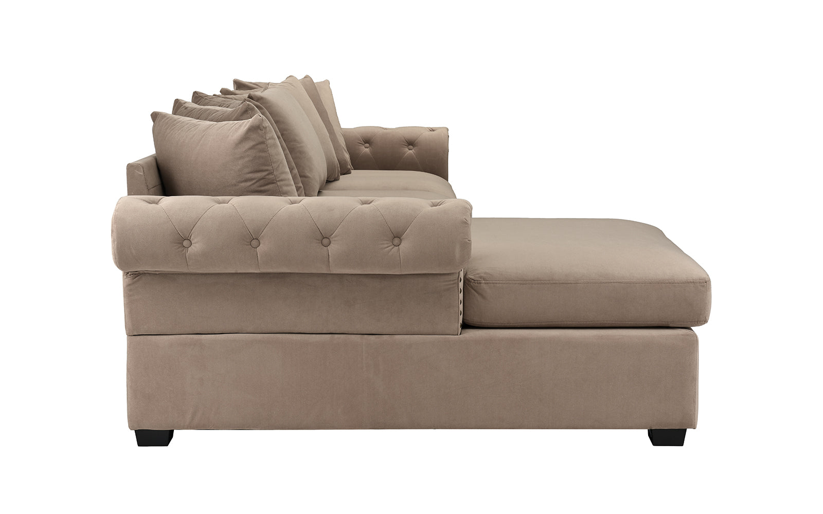 Melina Classic Victorian-Inspired Velvet Sectional Sofa with Left Chaise