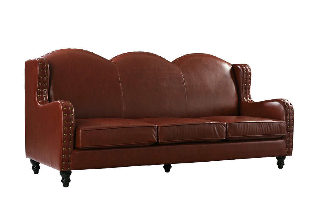 Xavier Wingback Victorian-Style Leather Sofa