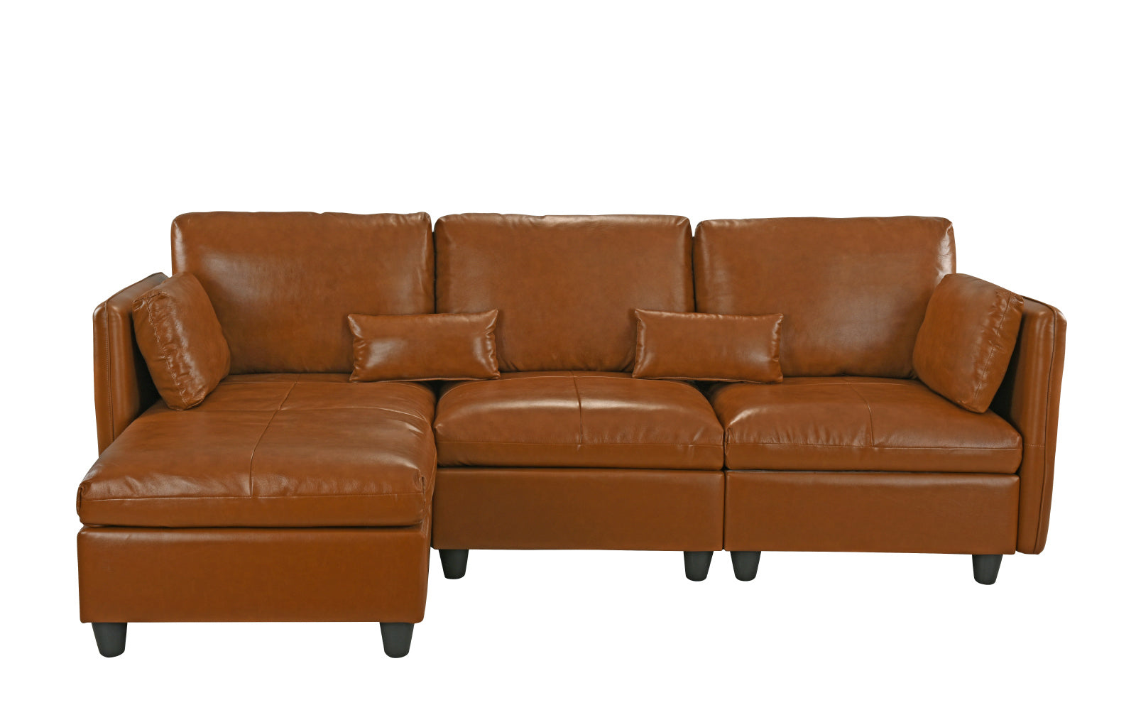 Avery Classic Leather Match Sectional Sofa With Left
