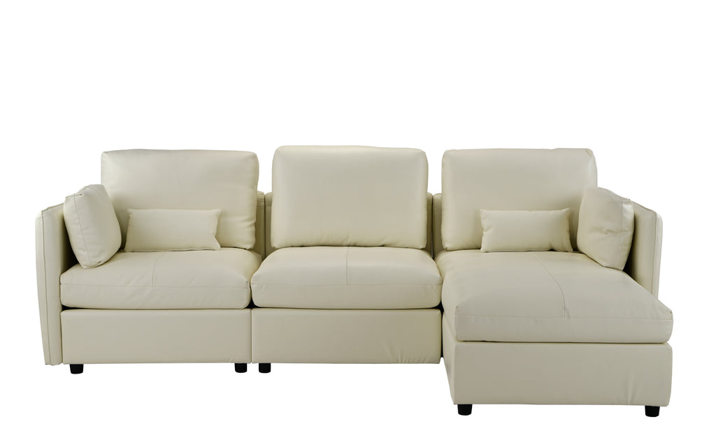 Avery Classic Leather Match Sectional Sofa with Right Chaise ...