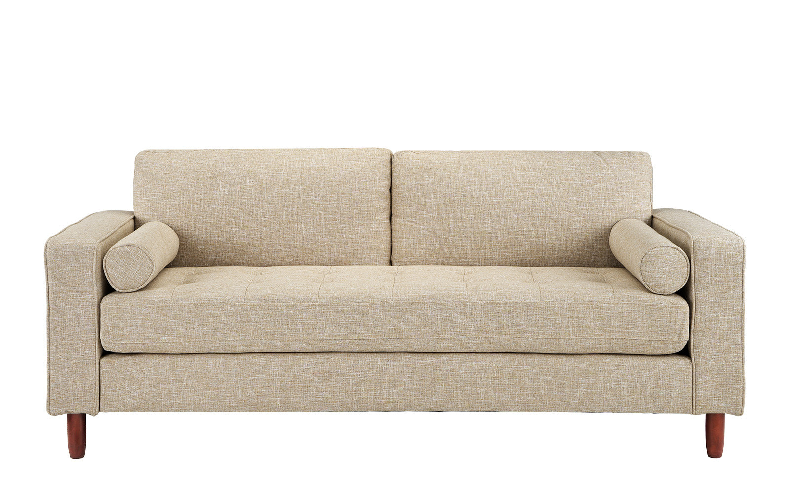 Ethan Mid Century Modern Fabric Sofa with Bolster Pillows