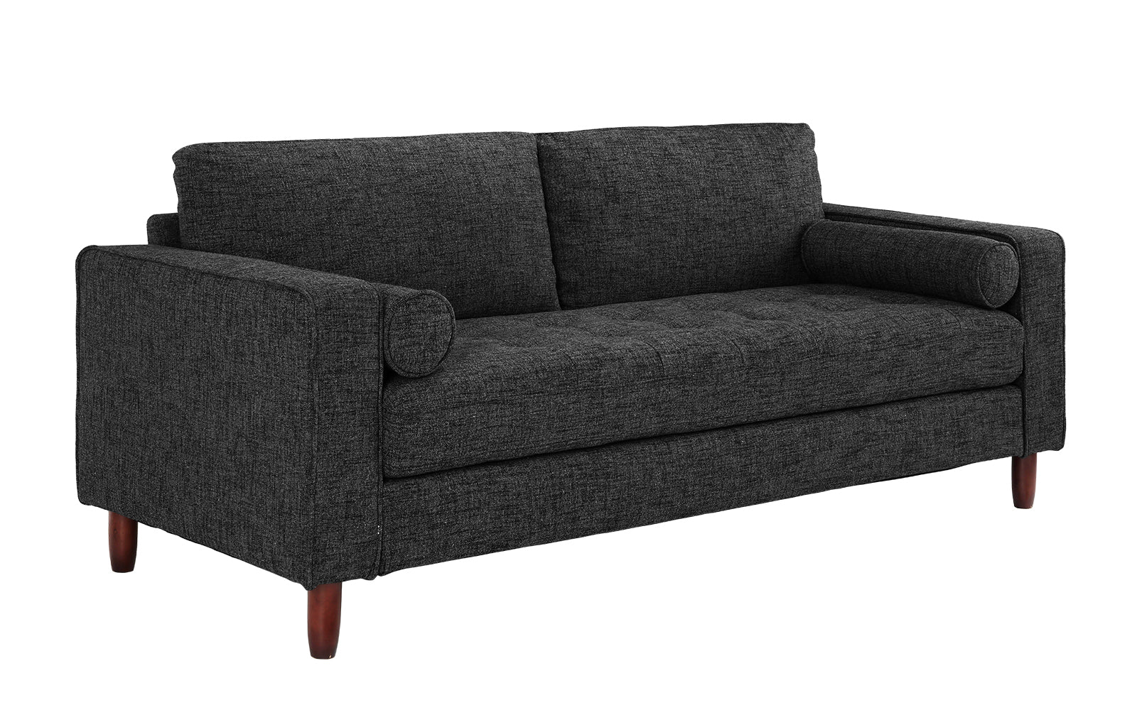 Awesome Ethan Mid Century Modern Fabric Sofa With Bolster Pillows Machost Co Dining Chair Design Ideas Machostcouk