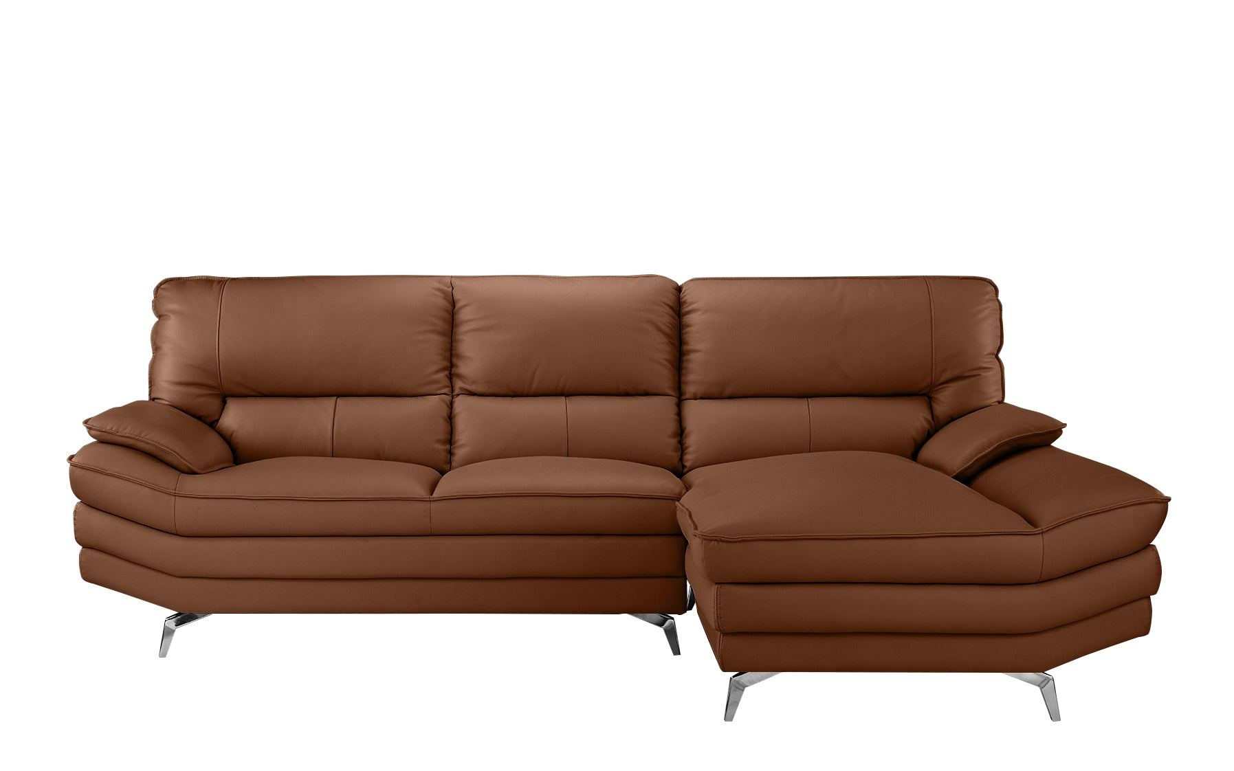 Desi New Wave Contemporary Top Grain Leather Match Sectional Sofa