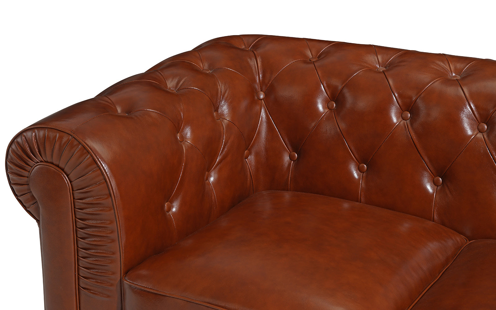 Jude Real Tufted Leather Chesterfield Sofa Sofamania Com ~ Chesterfield Brown Sofa