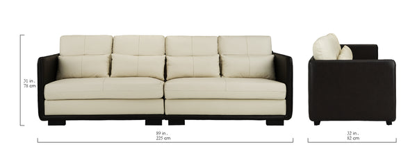 Nova Elegant Convertible Leather Sofa | Sofamania.com