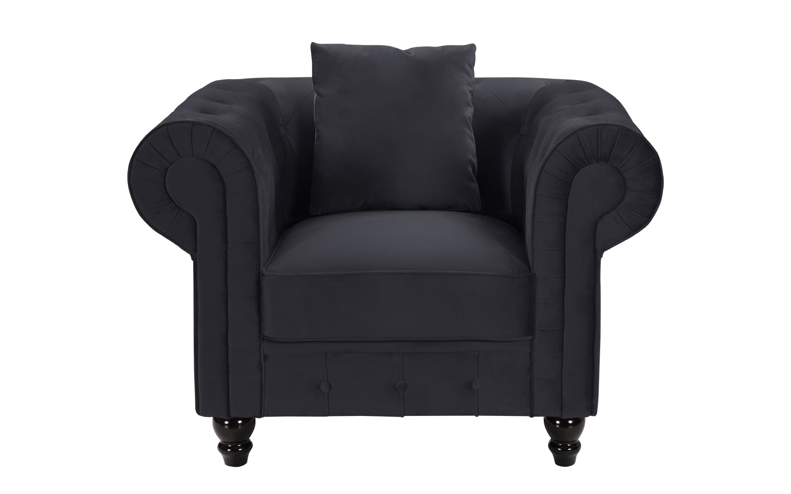 Royal Victorian Style Velvet Chesterfield Accent Chair