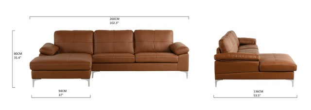Mai Modern Leather Match Low Profile L-Shape Sectional Sofa with ...