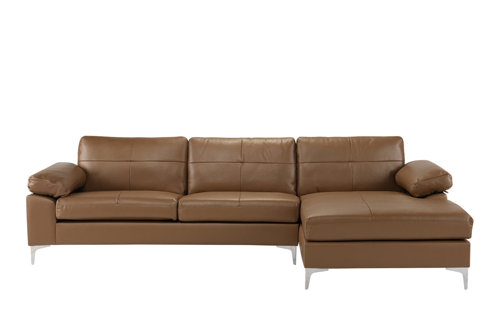 Mai Modern Leather Match Low Profile L Shape Sectional