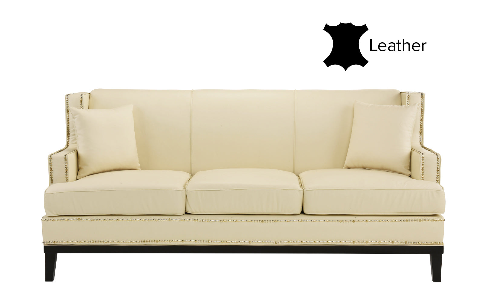 cassandra leather match sofa with 2 pillows. Black Bedroom Furniture Sets. Home Design Ideas