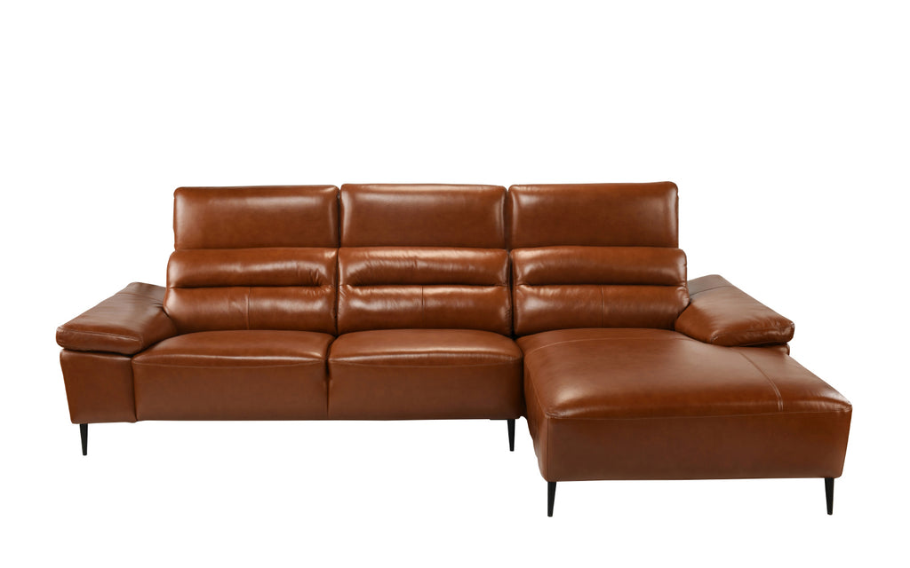 Rocco 70s Inspired Leather Match Sectional Sofa With Right