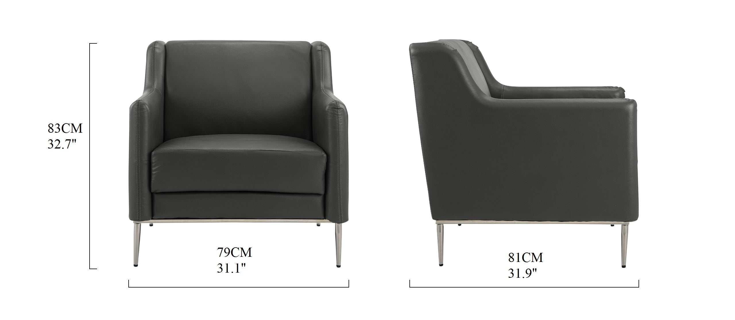 Jem Modern Leather Match Accent Club Chair Sofamaniacom