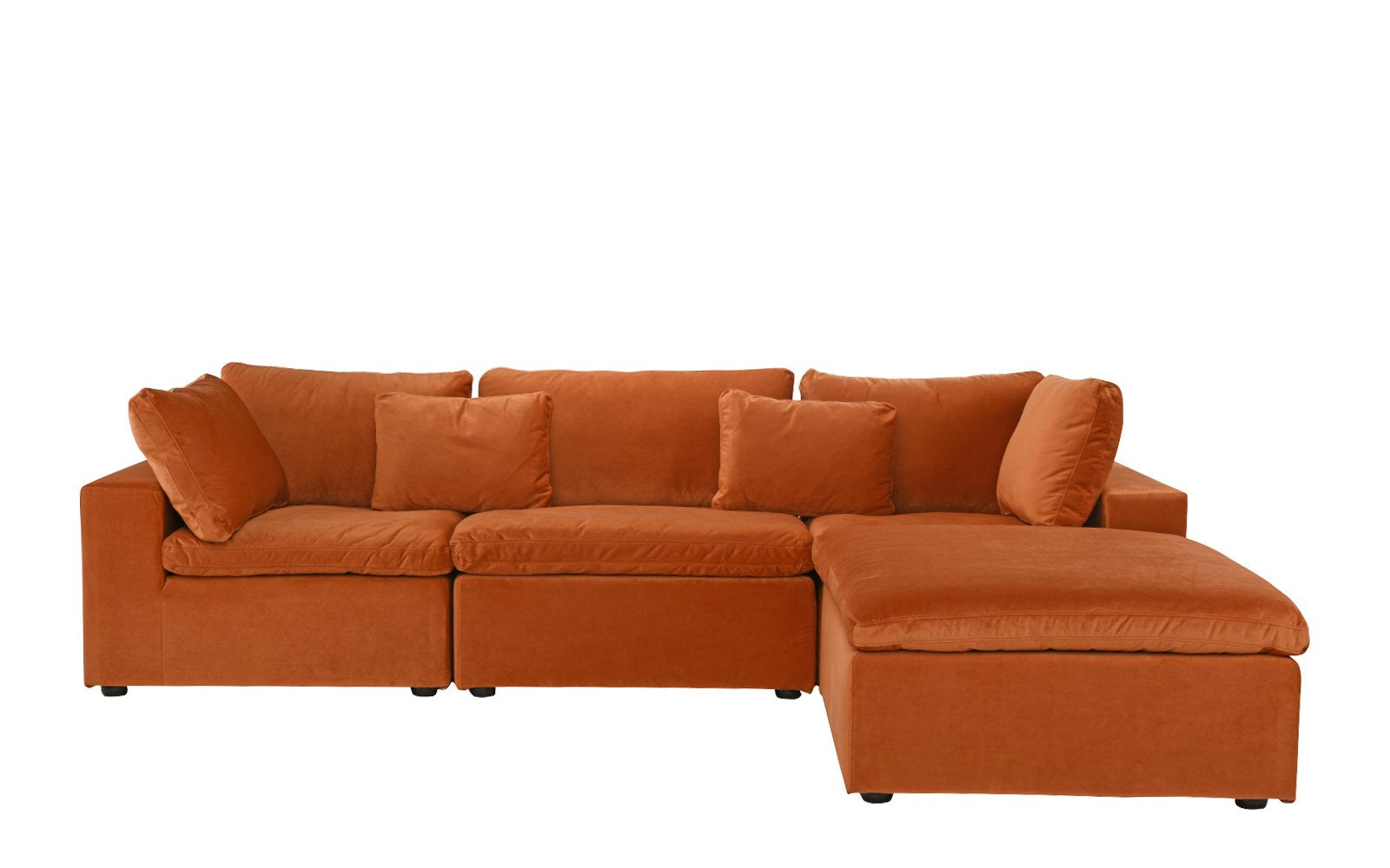 Superieur Fitz Contemporary Low Profile Velvet Lounge Sofa With Chaise