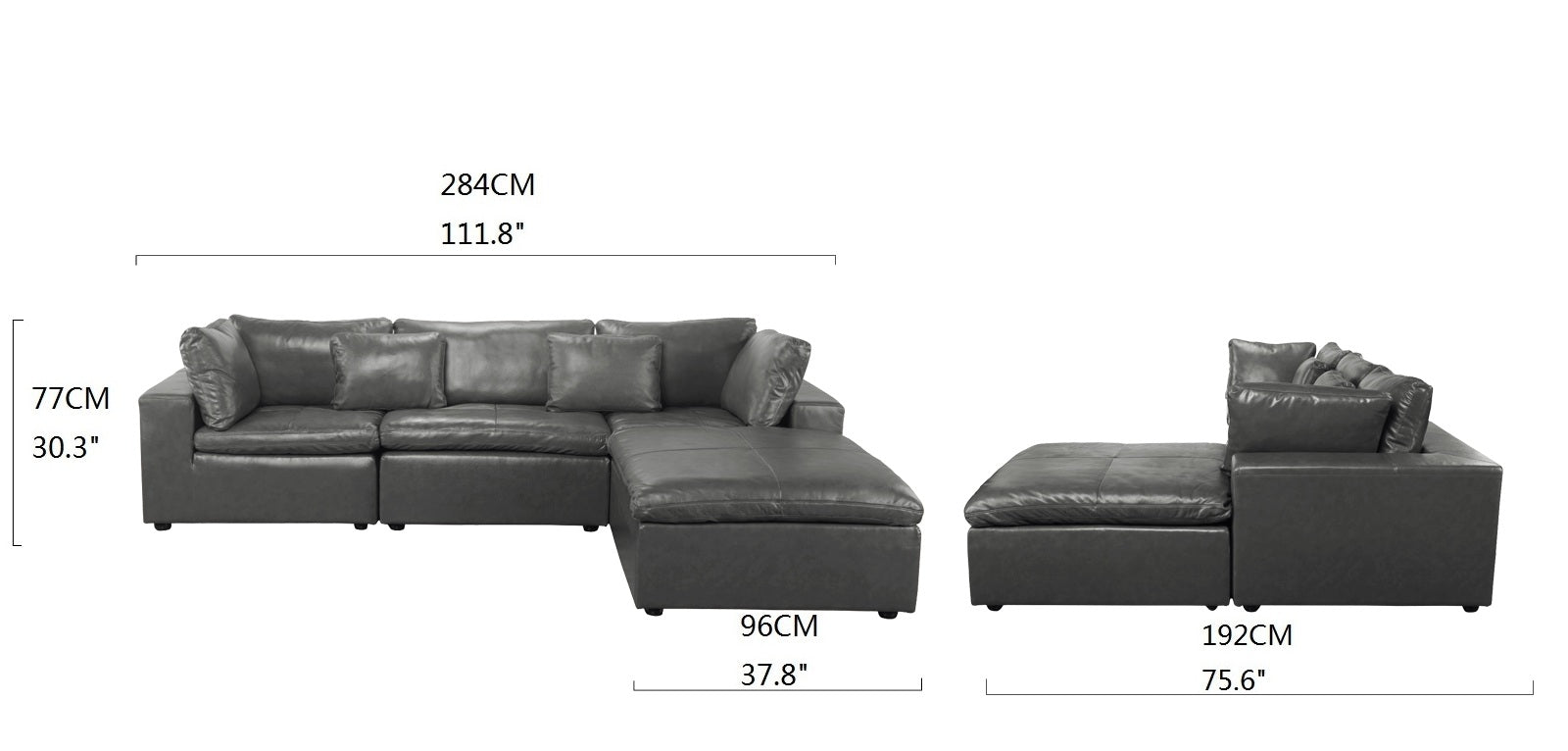 Sigur Modern Leather Match Sectional Sofa with Chaise