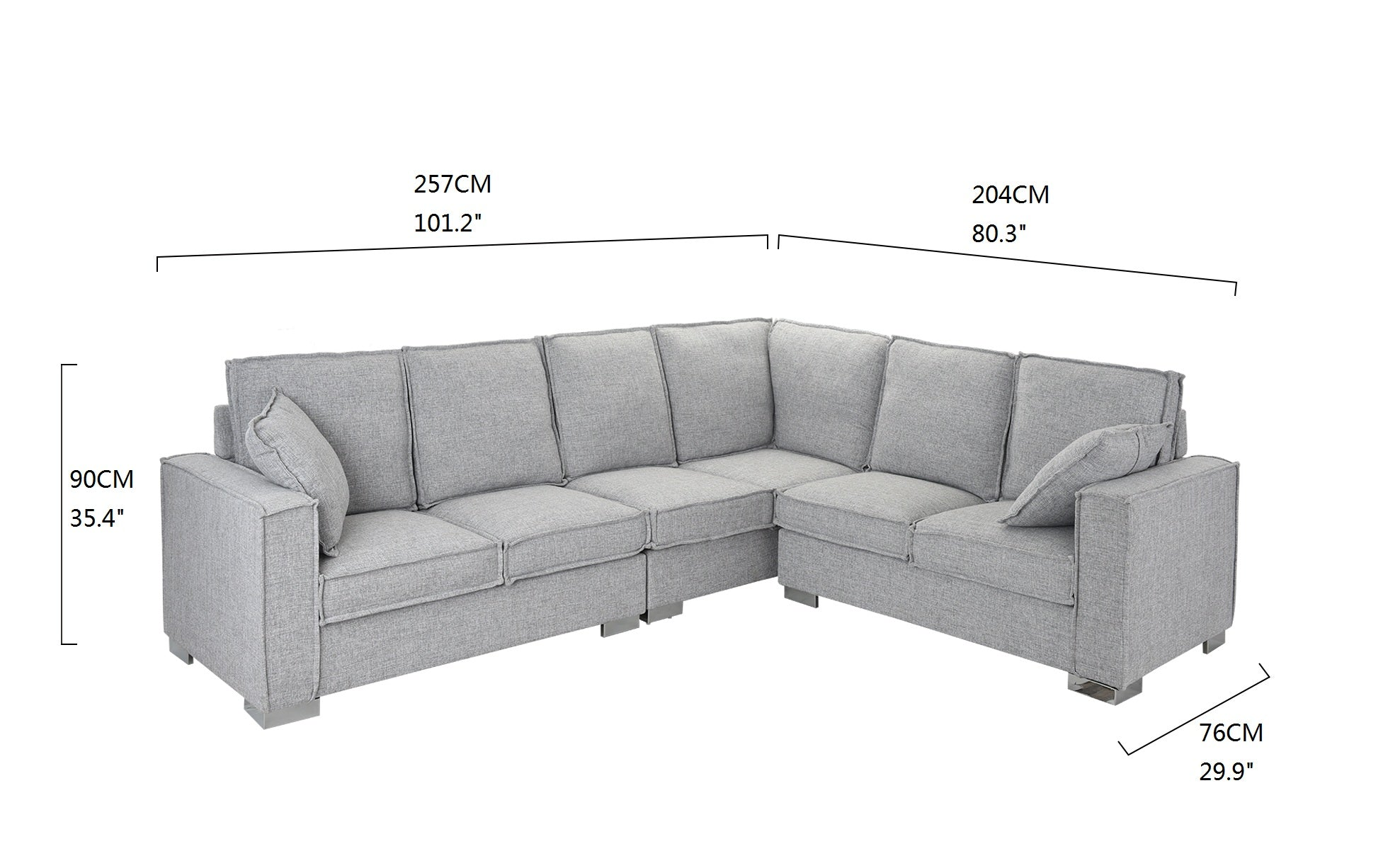 Lamer Contemporary (6) Seat Sectional Sofa