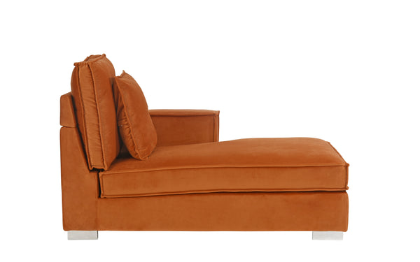 emma retro velvet chaise lounge with 2 accent pillows sofamaniacom - Chaise Orange