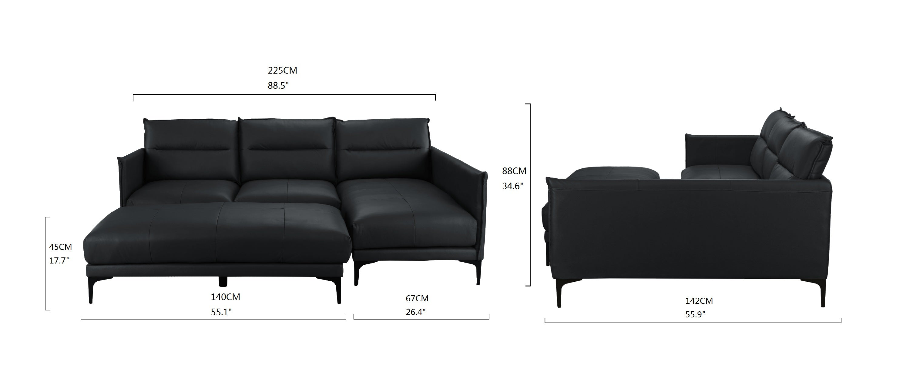 Fantastic Tony New Wave Leather Match Sectional With Ottoman Machost Co Dining Chair Design Ideas Machostcouk