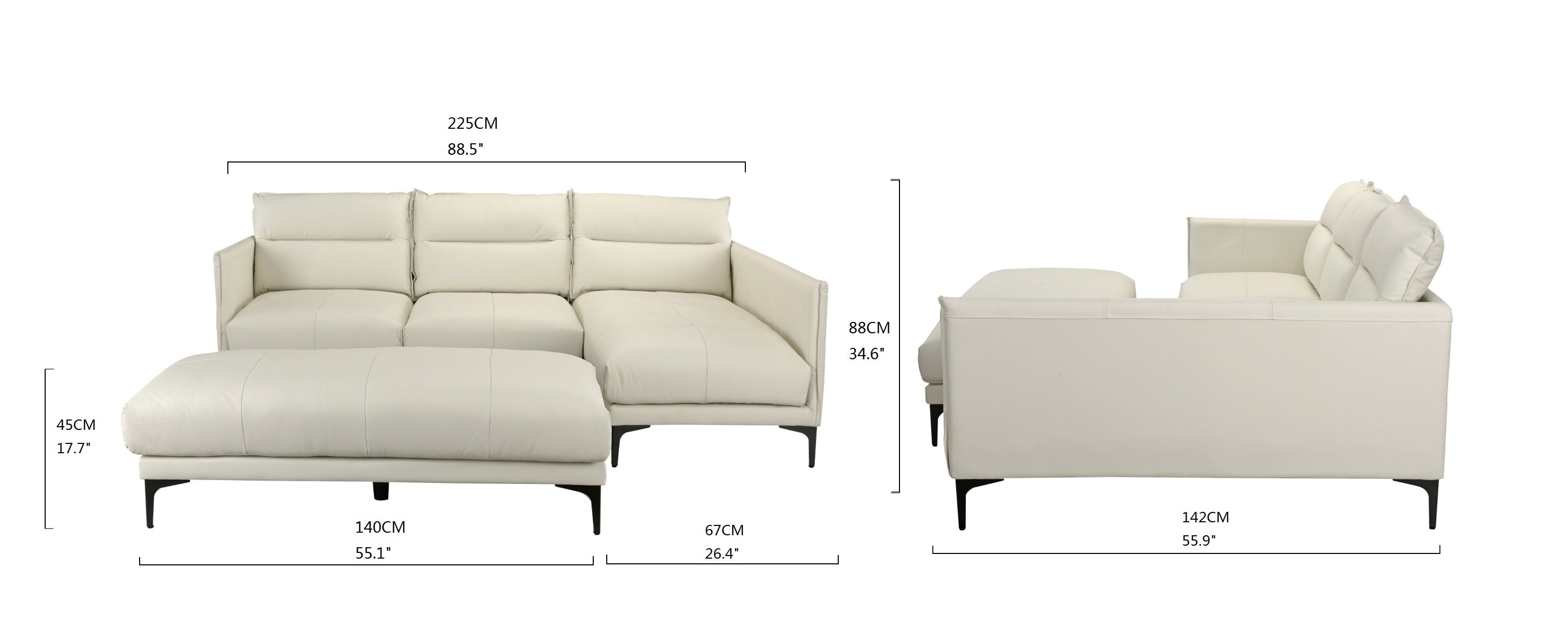 Brilliant Tony New Wave Leather Match Sectional With Ottoman Machost Co Dining Chair Design Ideas Machostcouk