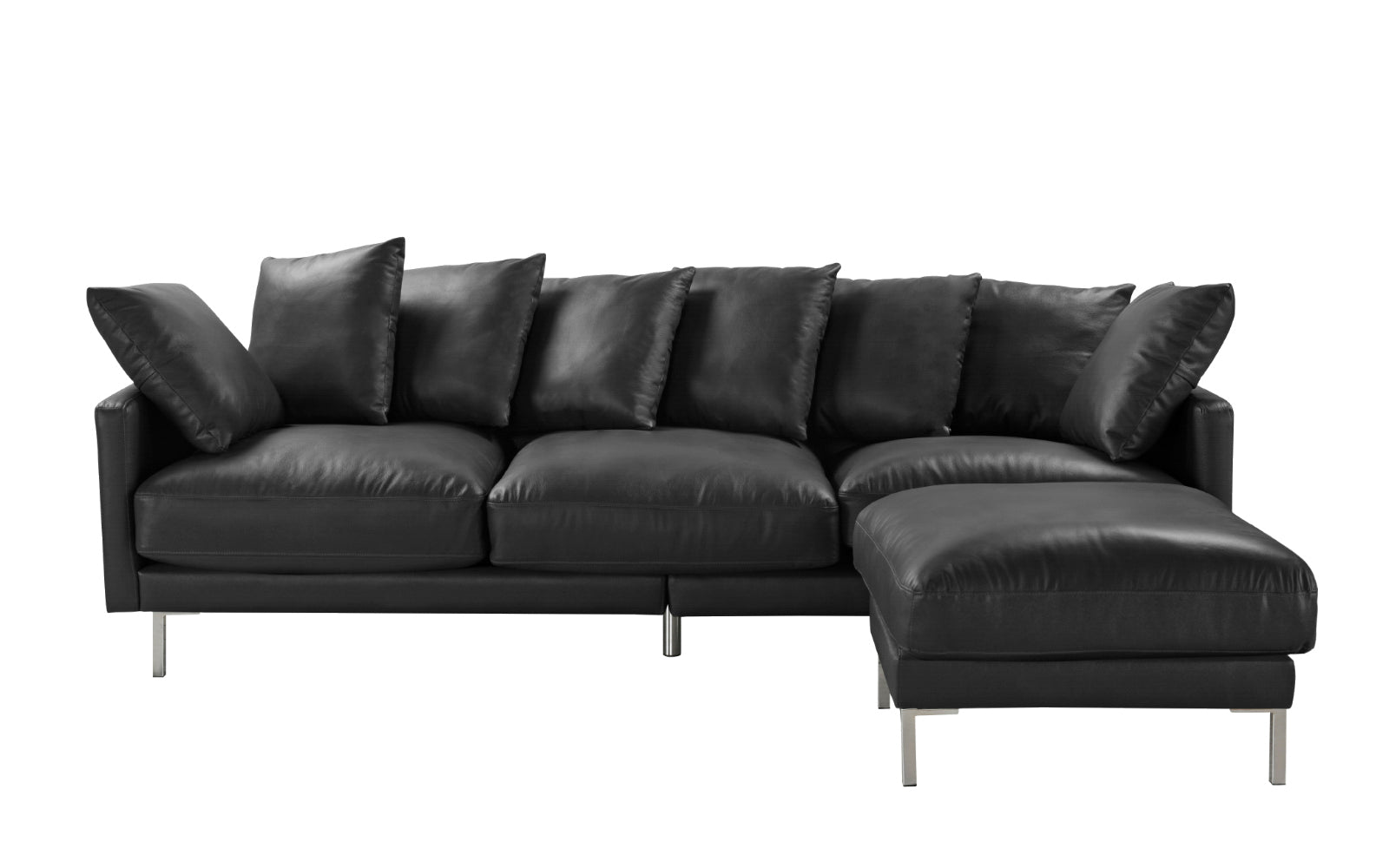Albany Modern Leather Match Sectional Sofa with Steel Legs ...