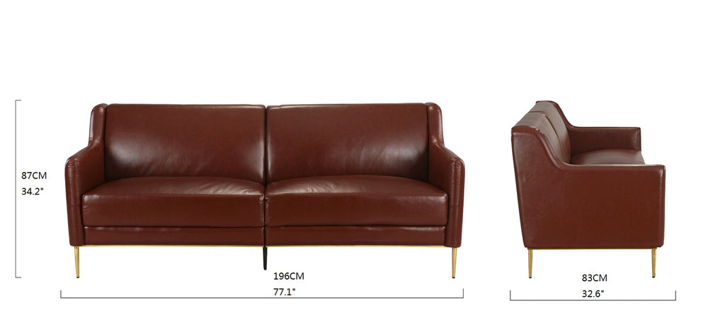 Cosmo Mid Century Modern Leather Match Gold Accent Club Sofa