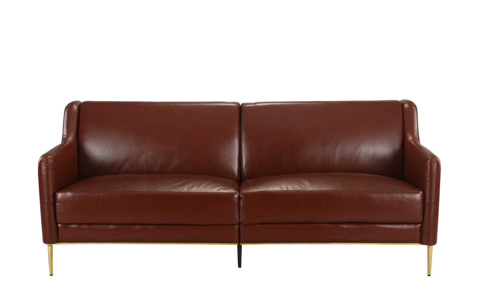 Cosmo Mid Century Modern Leather Match Gold Accent Club Sofa ...