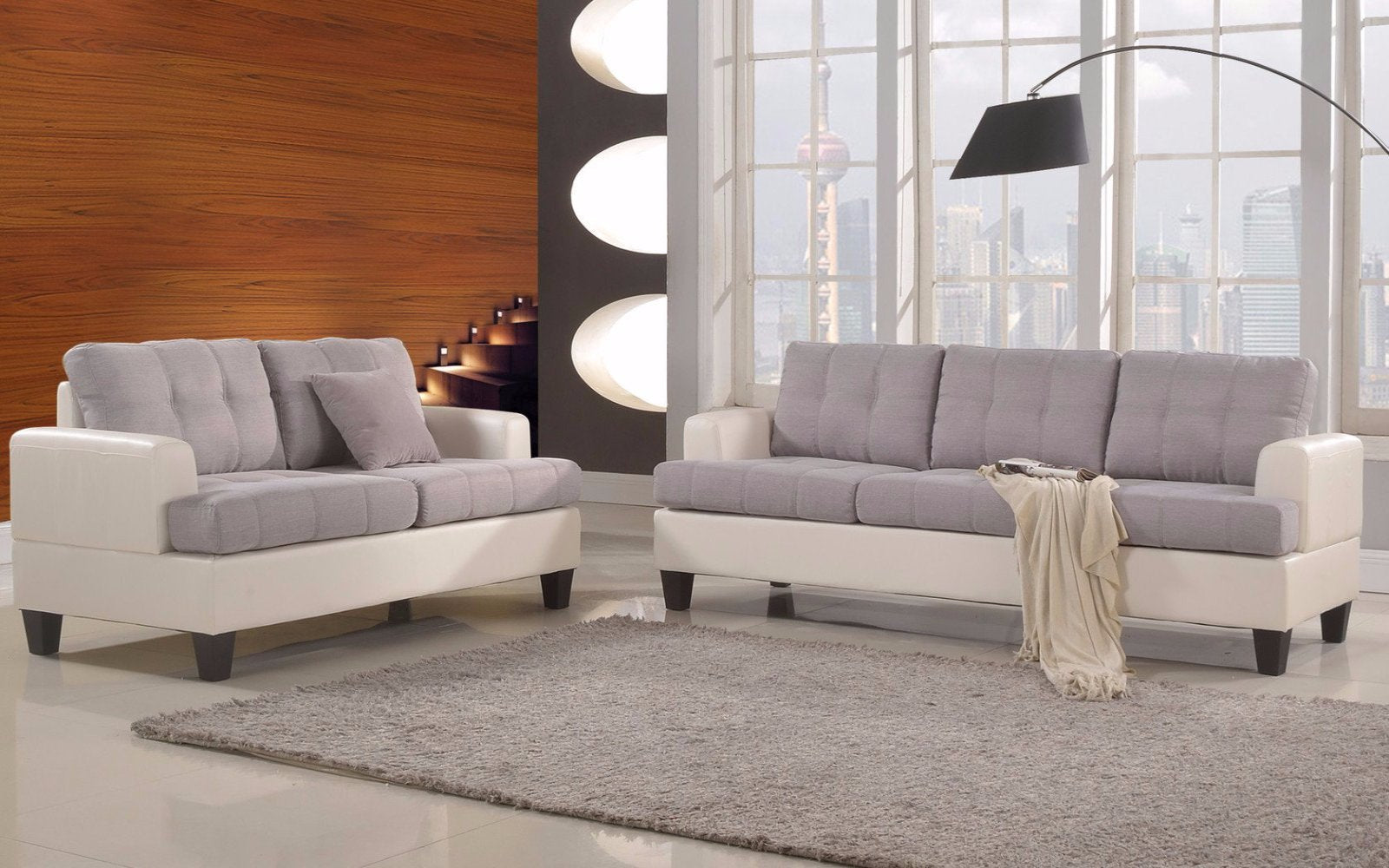 Laura S Modern Linen Living Room Sofa Set