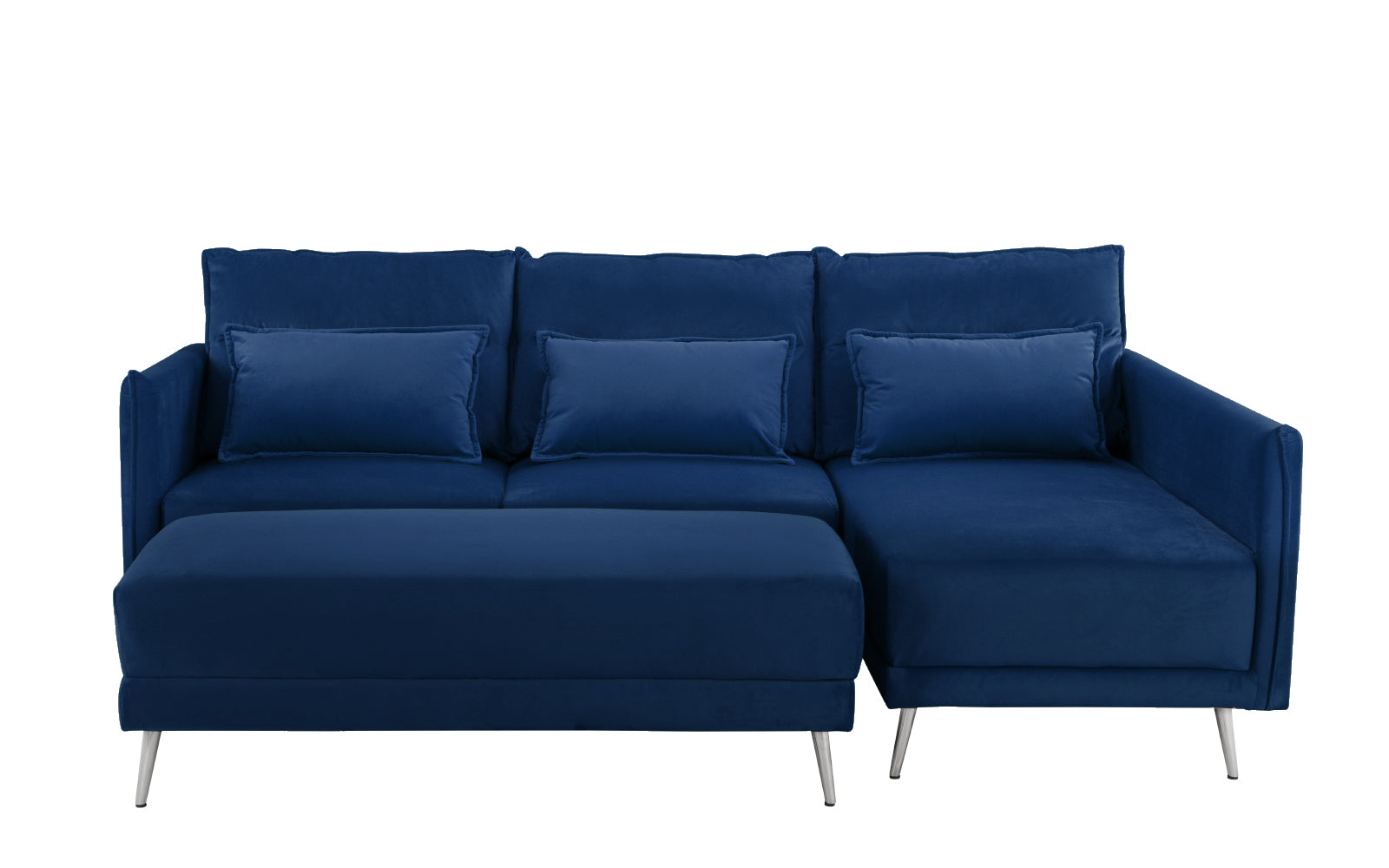 Mona velvet sectional sofa with large ottoman