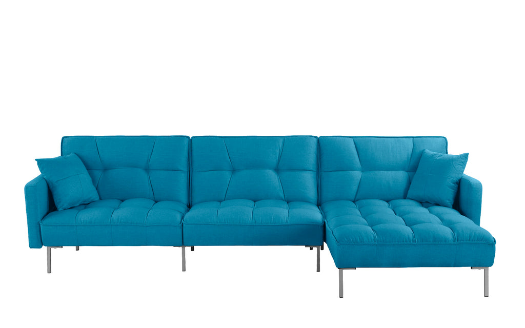 Cassie Modern Linen Sectional Futon Sofa with Right Facing Chaise