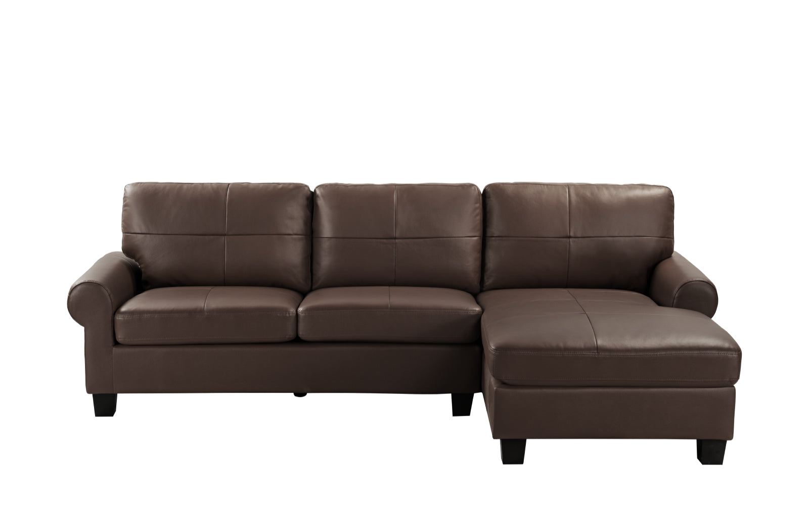 Dallas Leather Match Sectional Sofa with Right Facing Chaise