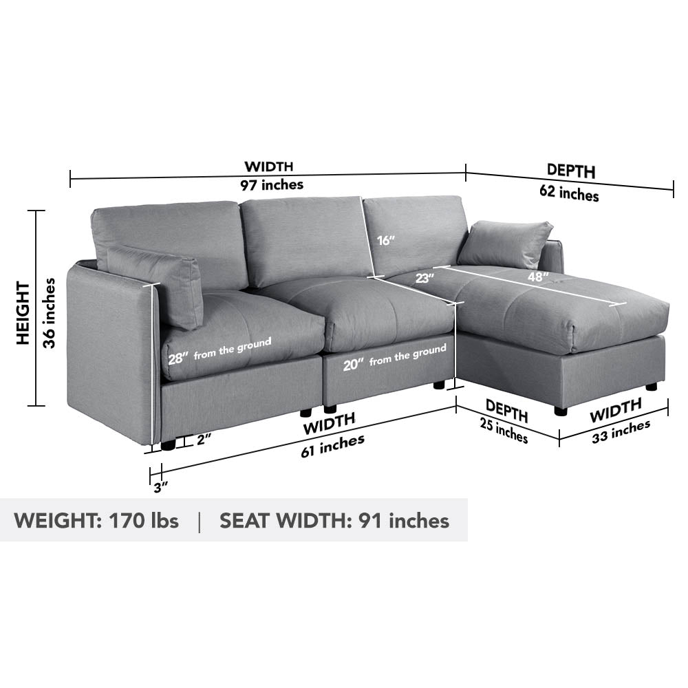 Nour Contemporary L-Shape Sectional Sofa