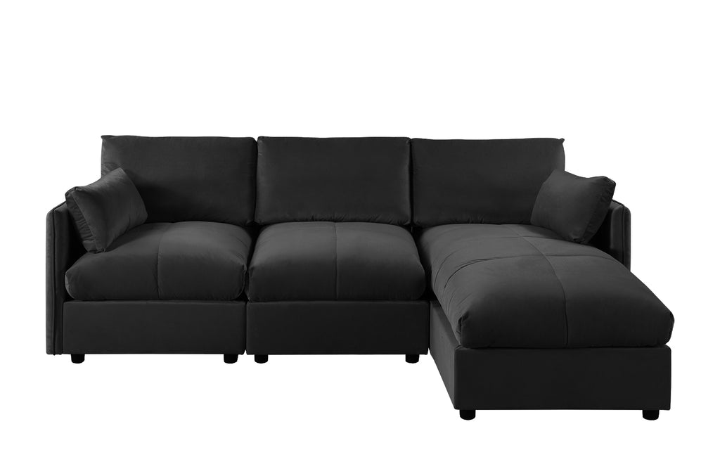 Nour Contemporary Velvet L-Shape Sectional Sofa