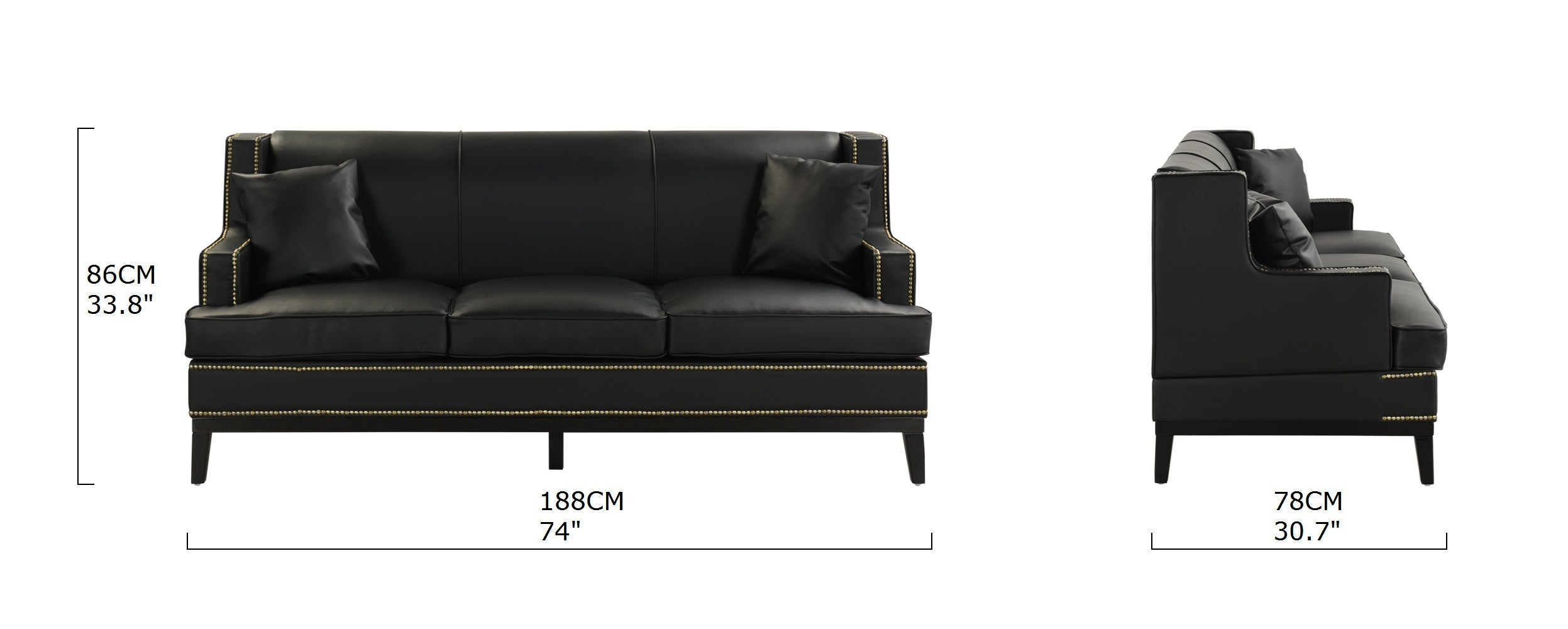 Abe Old Hollywood Nailhead Trim Bonded Leather Sofa | Sofamania.com
