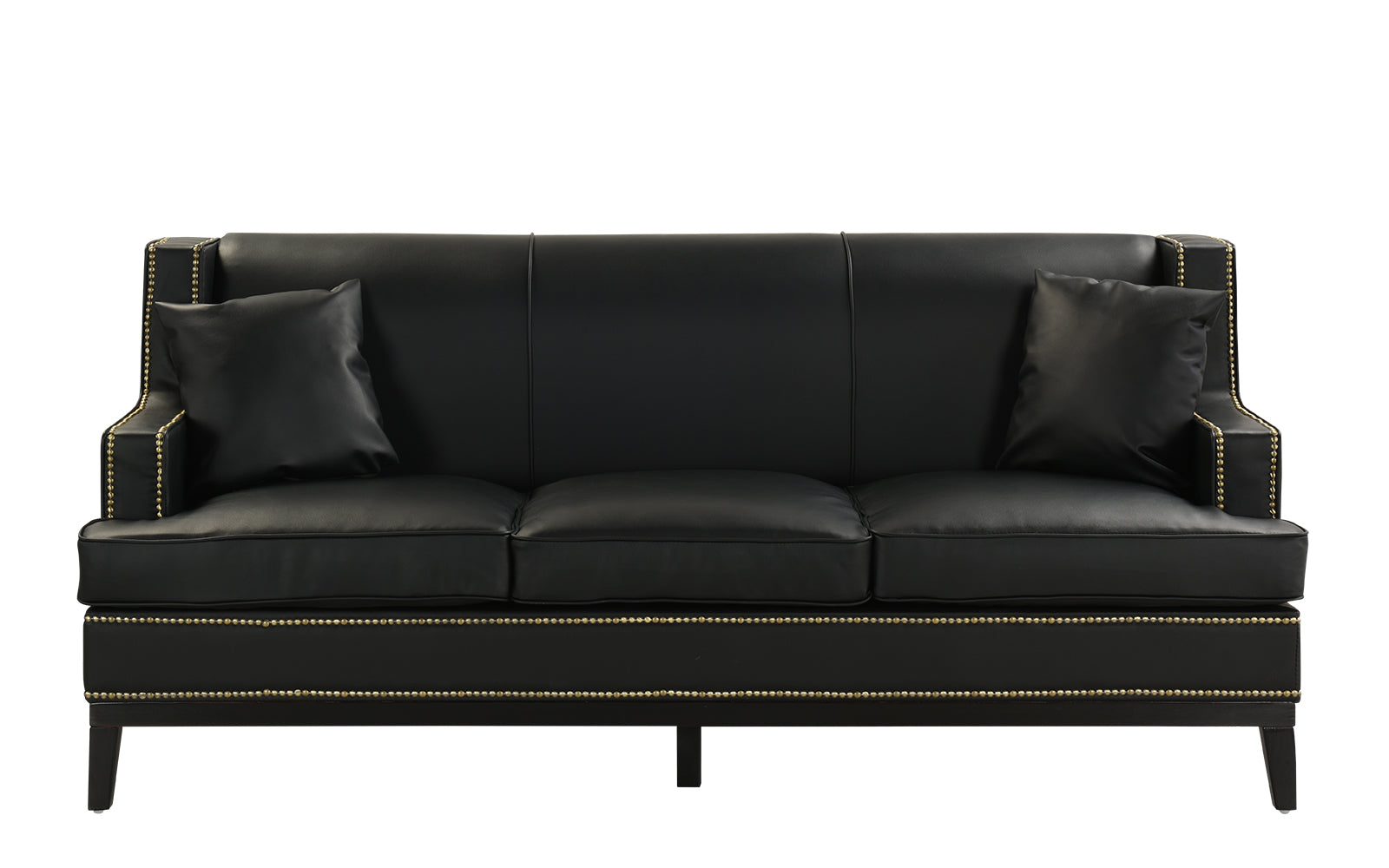 Abe Old Hollywood Nailhead Trim Bonded Leather Sofa