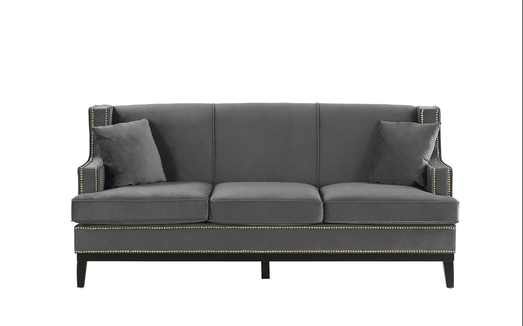 Abe Old Hollywood Nailhead Trim Velvet Sofa | Sofamania.com