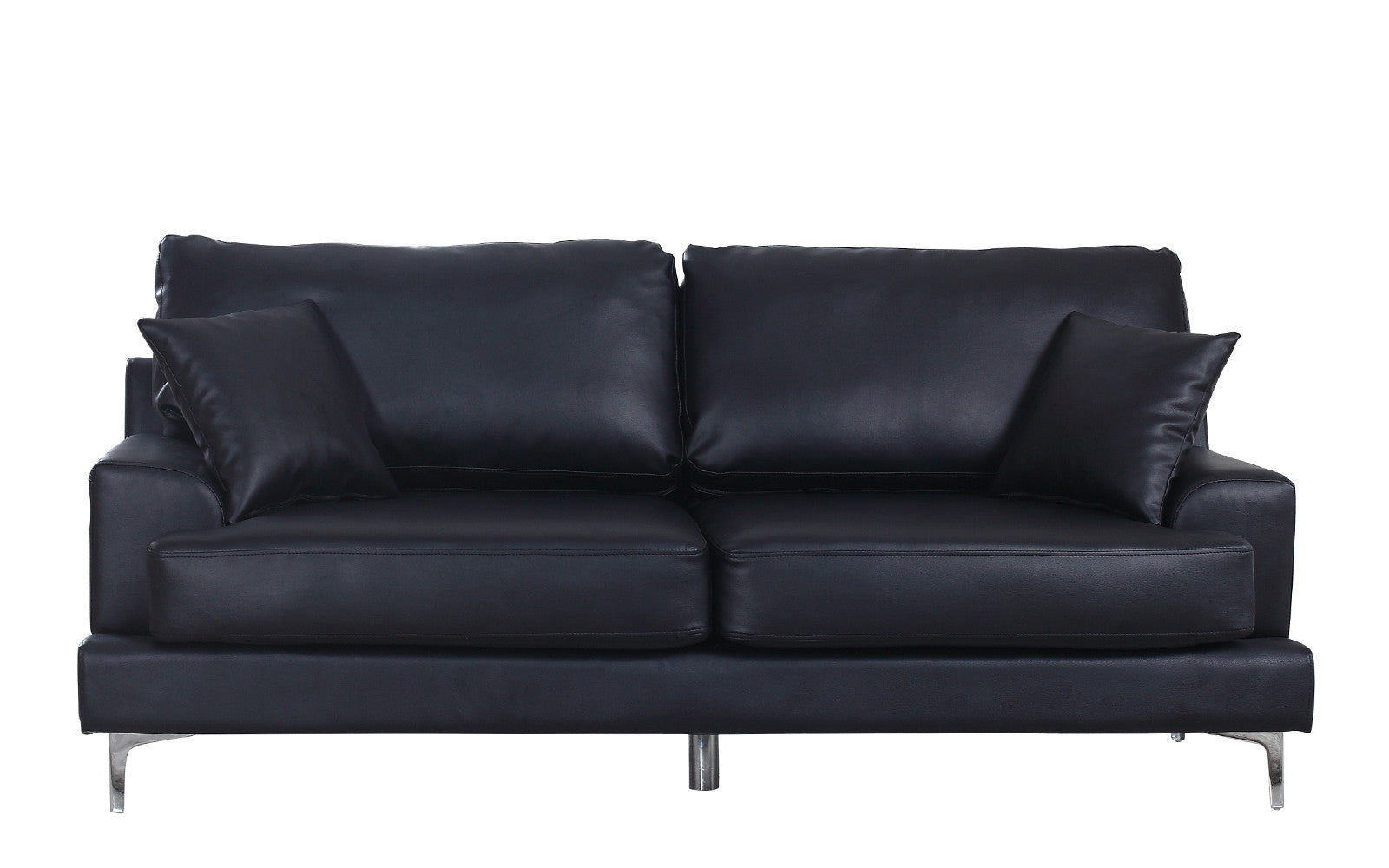 Elegant ... Elle Modern Plush Bonded Leather Sofa In Black ...