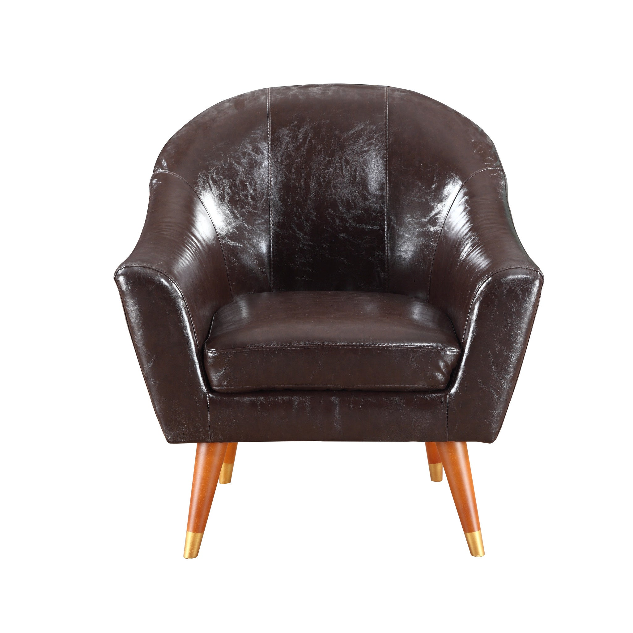 Leather Chair Wooden Legs Image