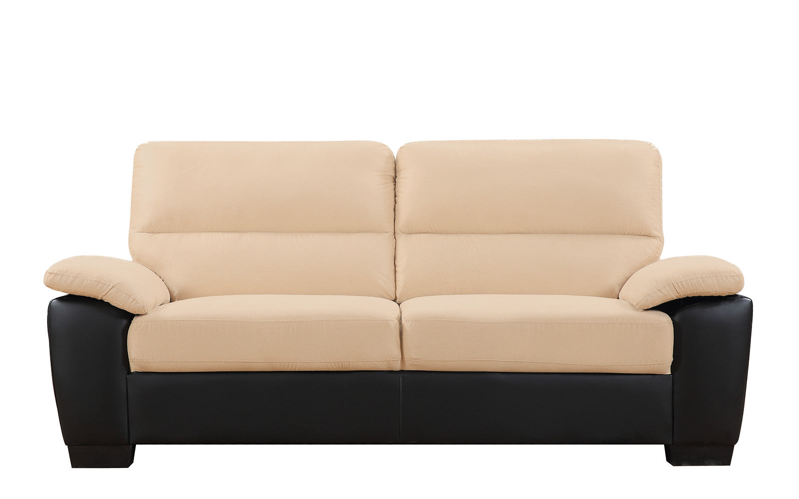 ... Mondo Microfiber And Bonded Leather Sofa In Beige ...