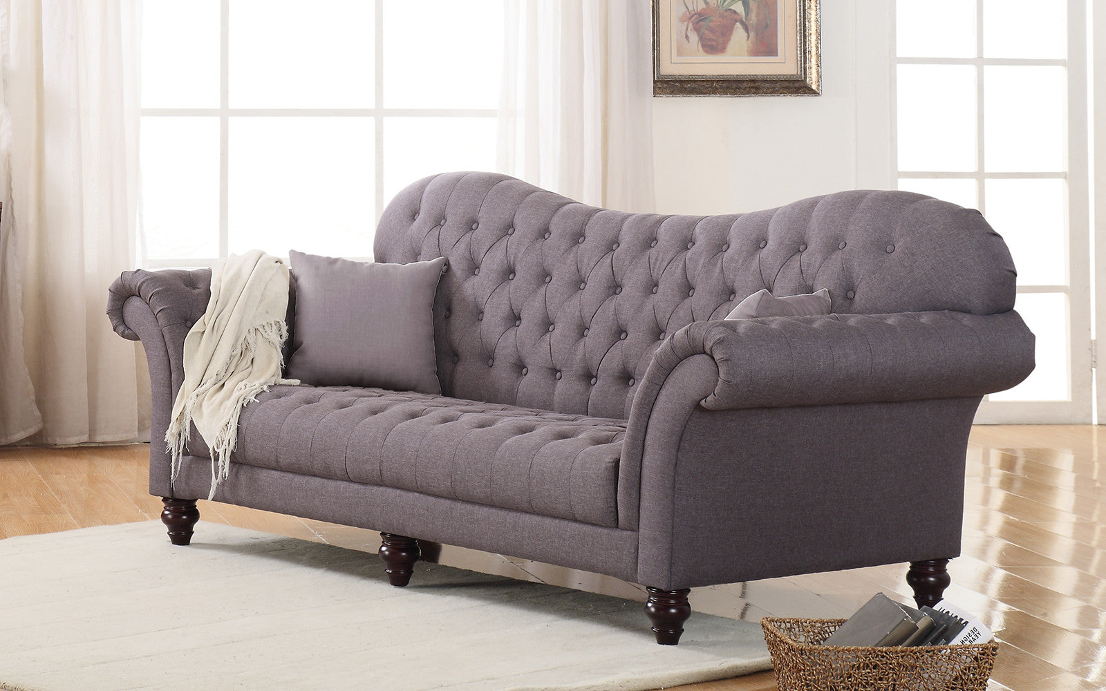 ... Diana Classic Victorian Linen Sofa In Dark Grey ...