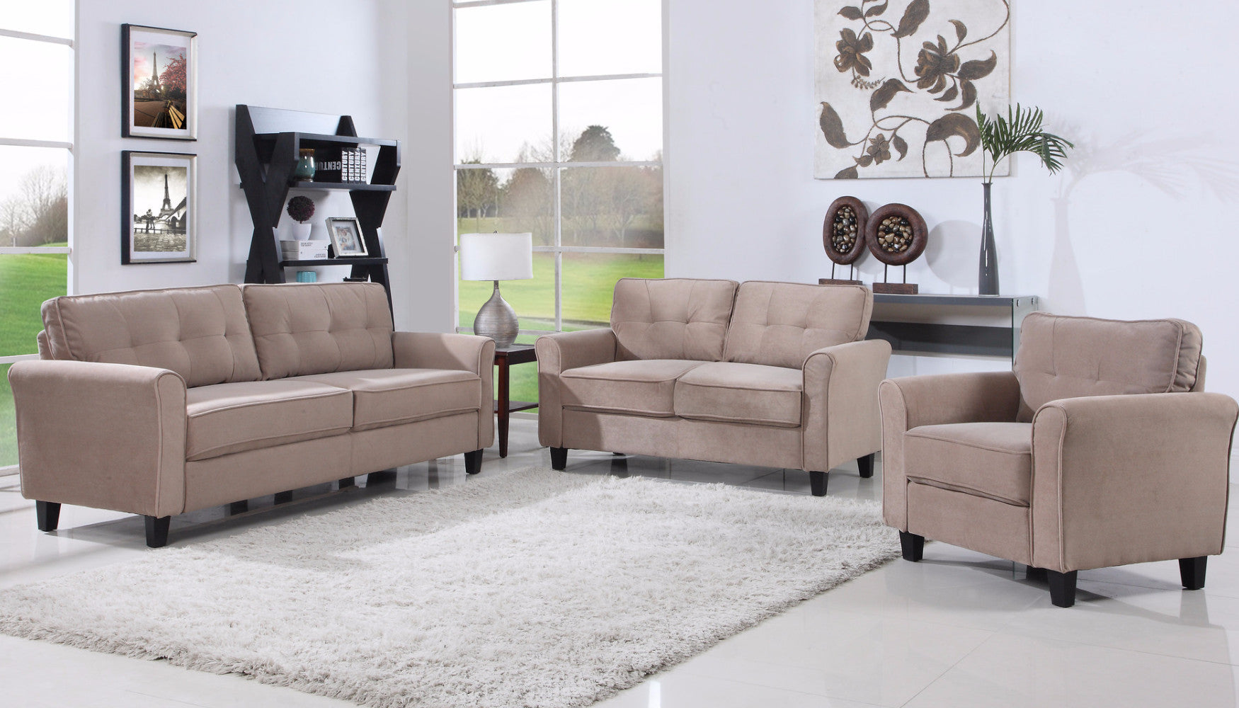 ... Agnes Classic Microfiber Living Room Set In Hazel