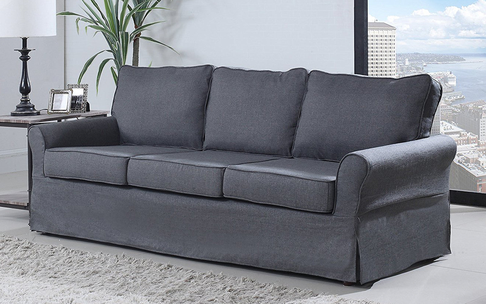 Merveilleux ... Griffin Classic Linen Fabric Sofa In Grey ...