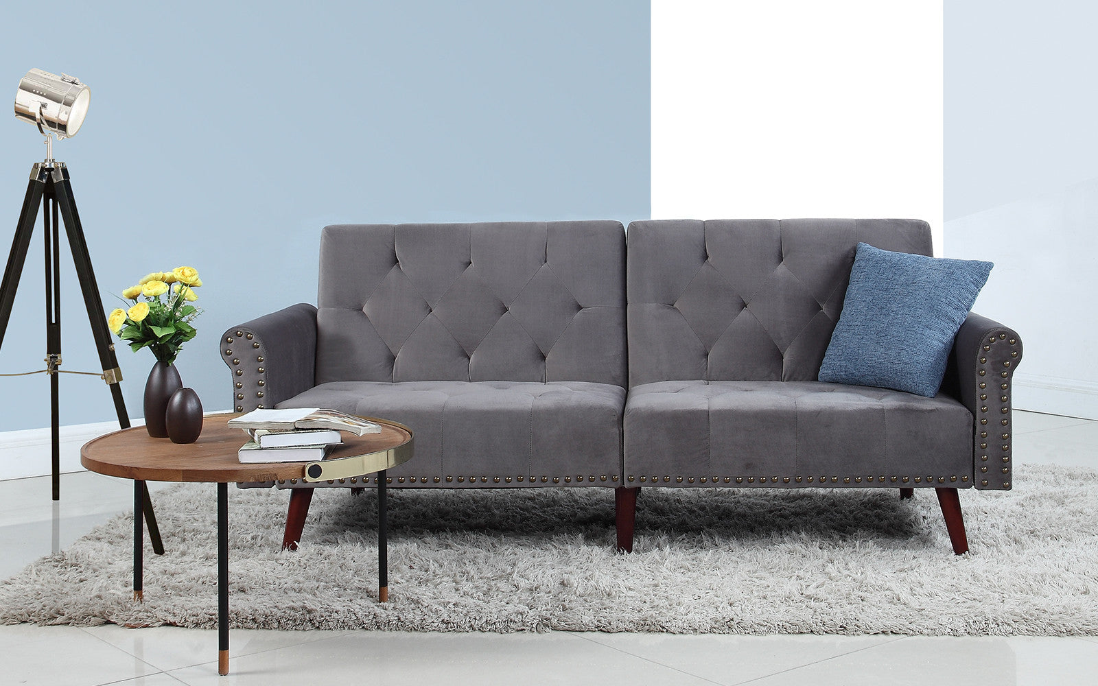 ... Becca Modern Tufted Velvet Futon In Dark Grey ...