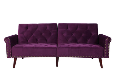Becca Modern Tufted Velvet Futon In Purple