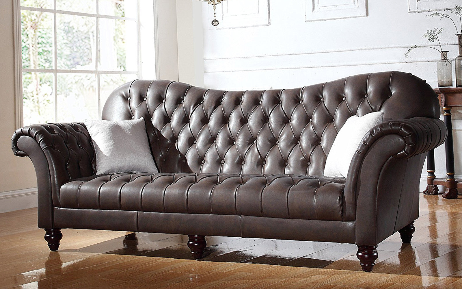 diana classic victorian italian leather sofa in dark brown - Italian Leather Sofa