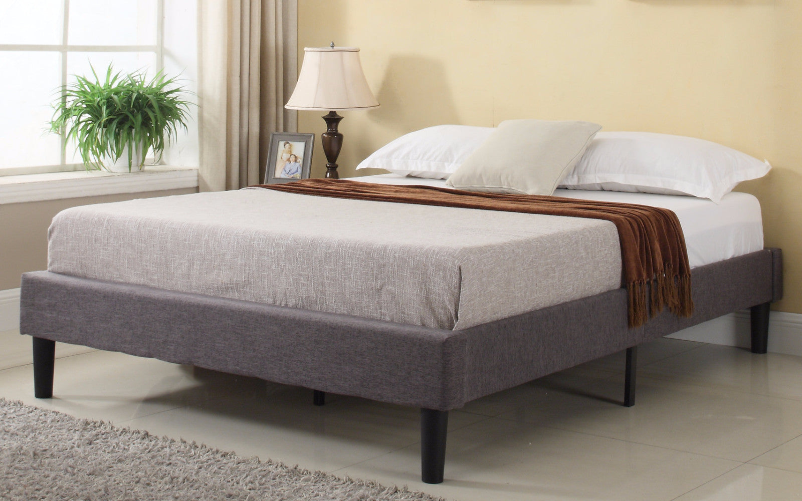 Cape Modern Fabric Bed Frame with Slats | Sofamania.com