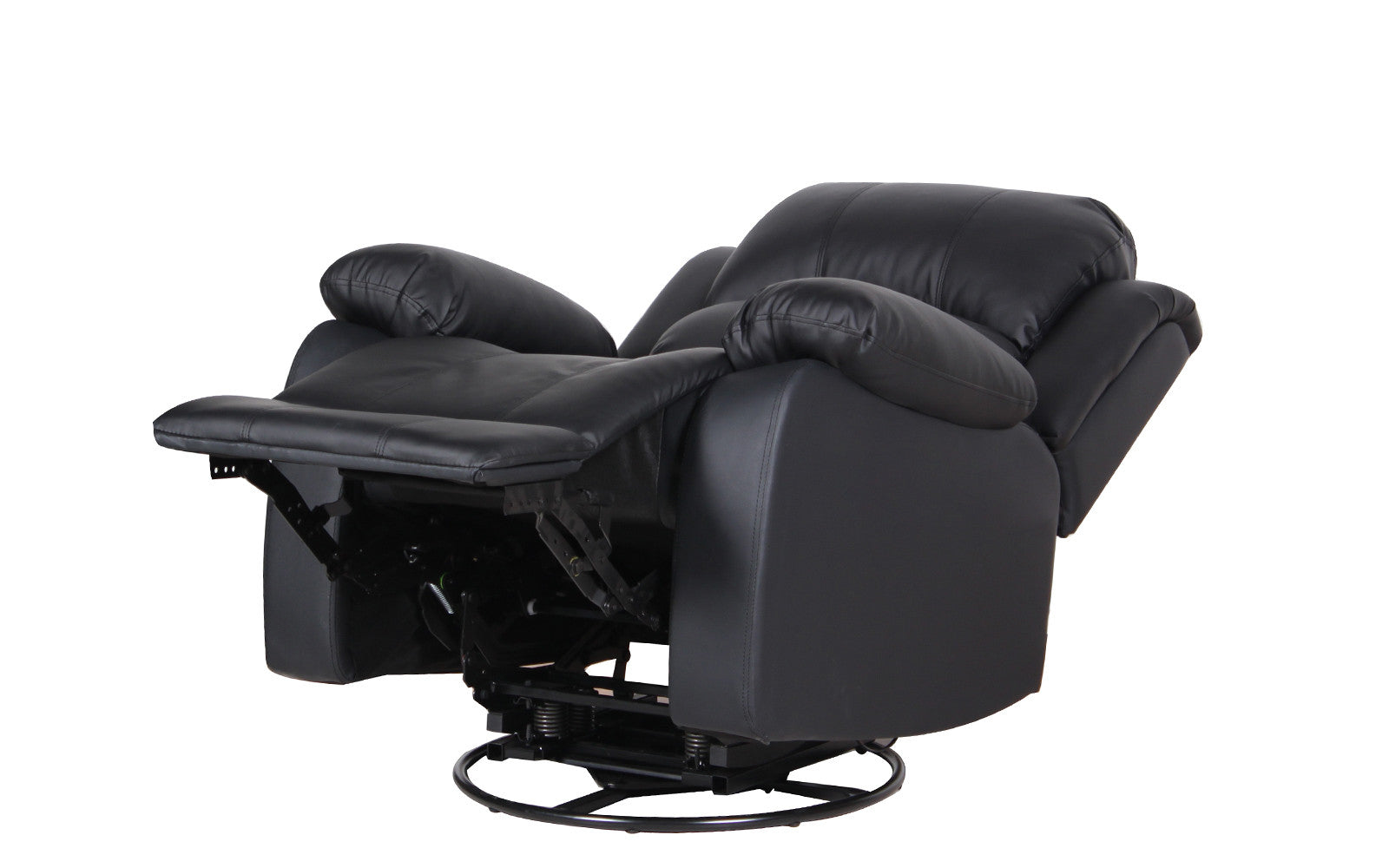 John Bonded Leather Recliner Rocker Swivel Chair In Black ...