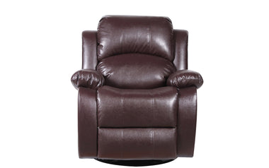 John Bonded Leather Recliner Rocker Swivel Chair In Brown