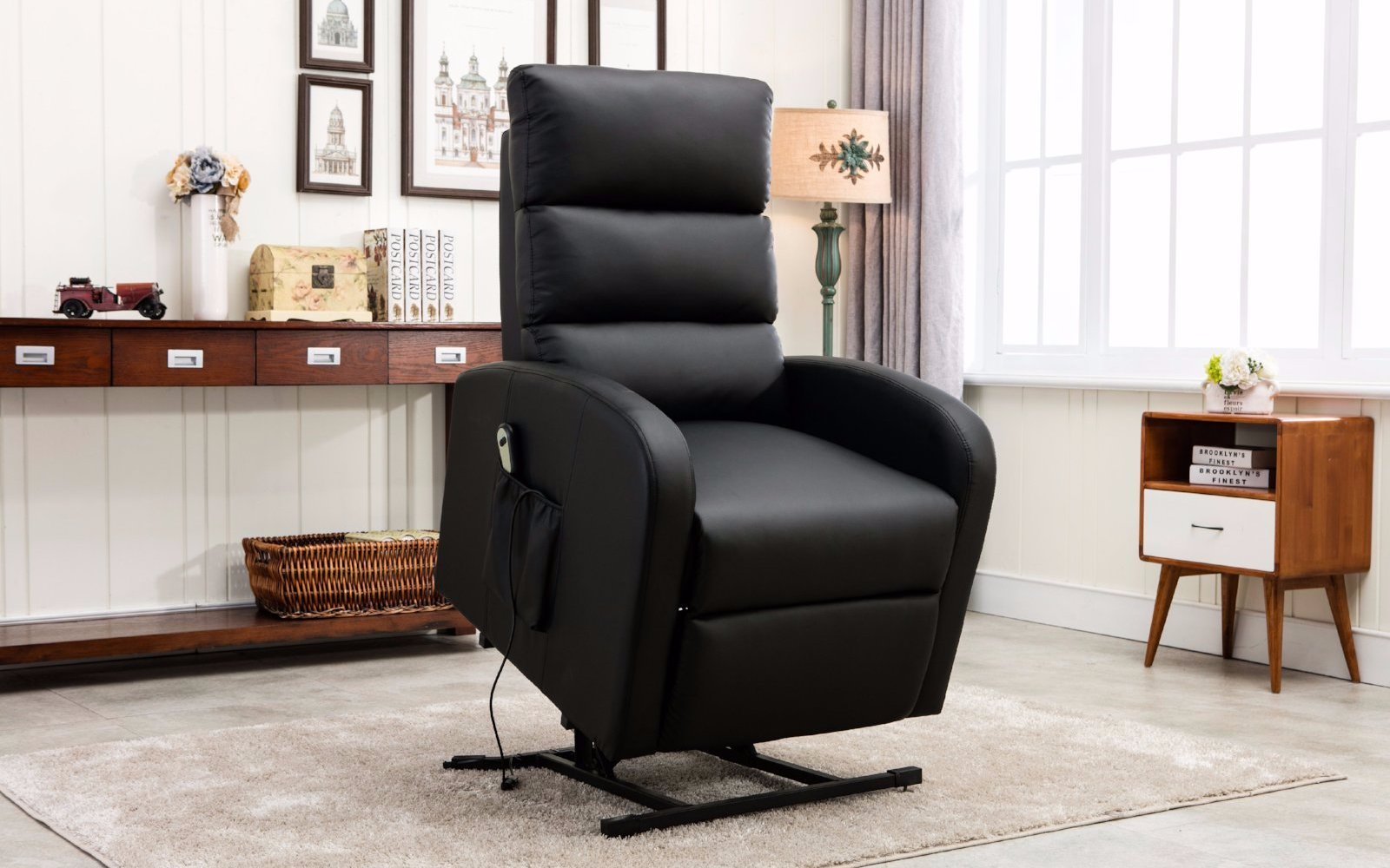 ... Lift Power Lift Recliner Fabric Chair ... & Lift Power Lift Recliner Bonded Leather Chair - Sofamania islam-shia.org