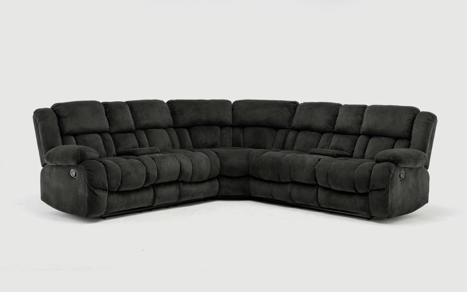 ... Raymond Linen Fabric L Shape Sectional Recliner Sofa In Charcoal ...