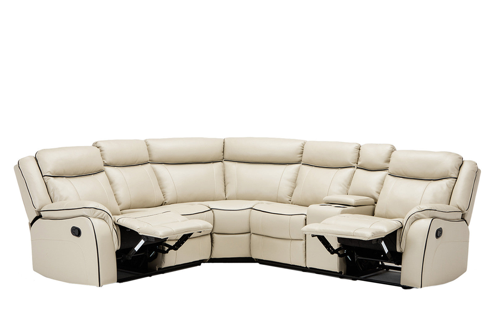 ... Paul Classic Bonded Leather Recliner Sectional In Beige ...  sc 1 st  Sofamania & Paul Classic Bonded Leather Recliner Sectional | Sofamania.com islam-shia.org