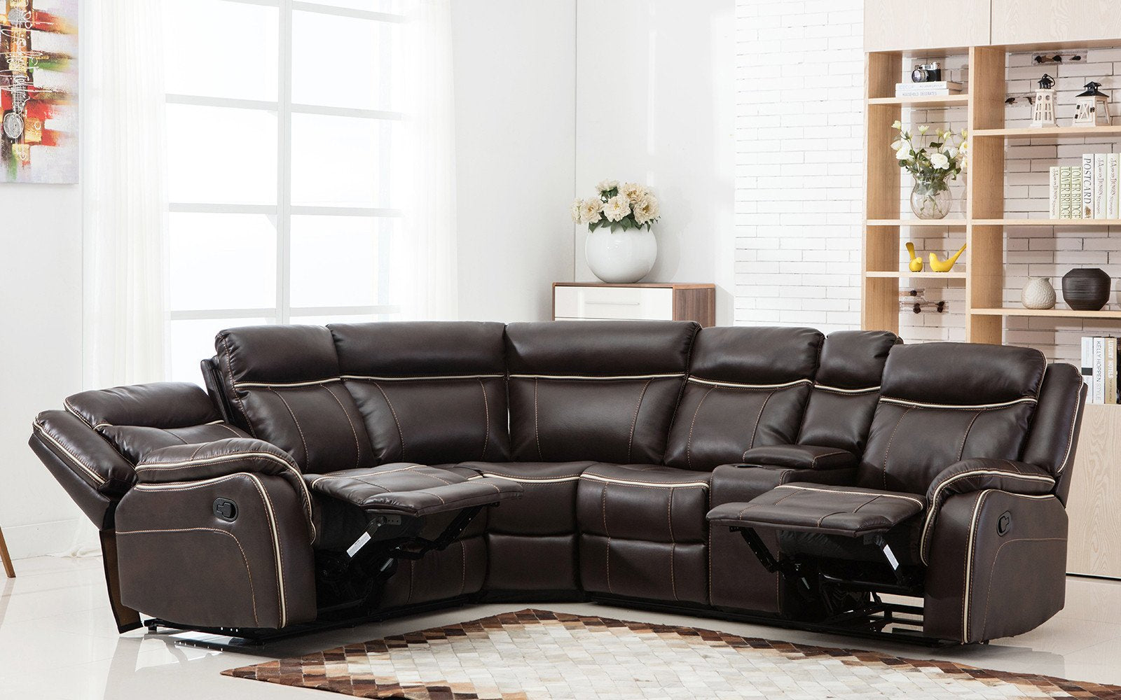 Bonded Leather Recliner Sectional Image